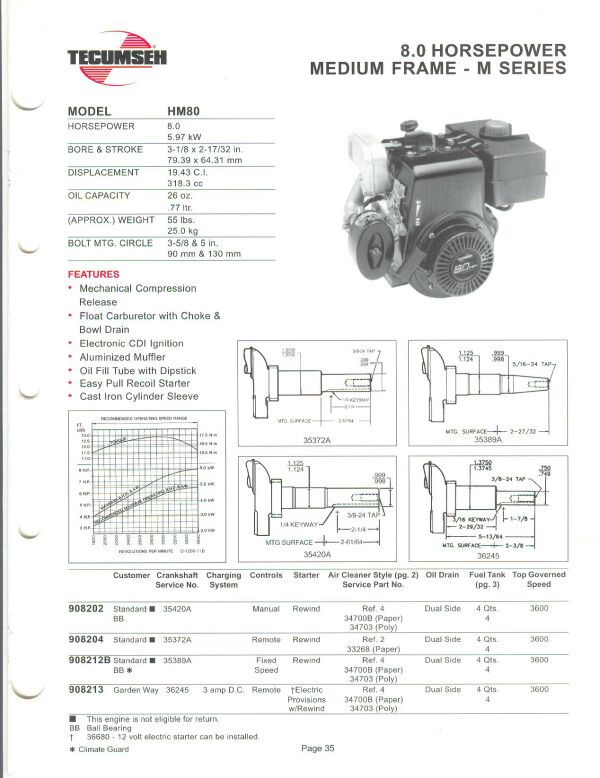 small engine suppliers engine specifications and line drawings for rh smallenginesuppliers com Tecumseh Hm100 Specs Tecumseh LEV115 Specs