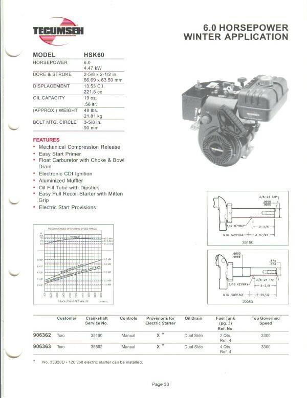 small engine suppliers engine specifications and line drawings for OHV Engine Parts hsk60