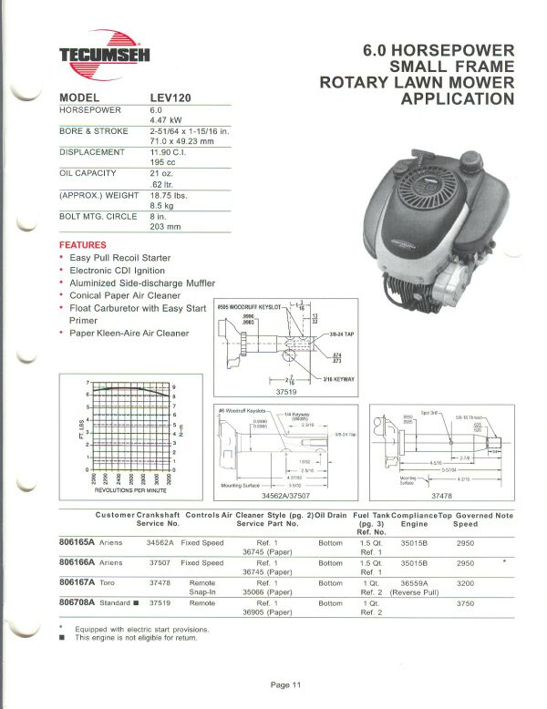 small engine suppliers engine specifications and line drawings for 6.5 Tecumseh Engine Diagram lev120 1