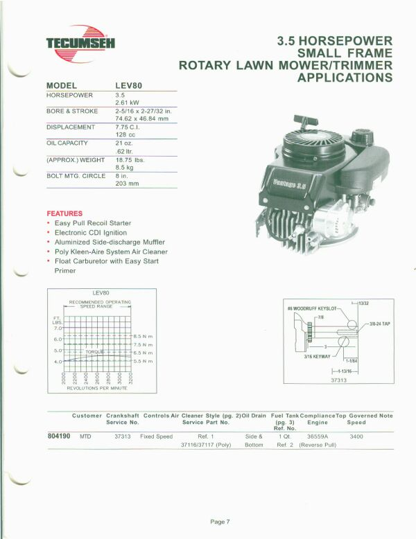 Small Engine Suppliers - Engine Specifications and Line