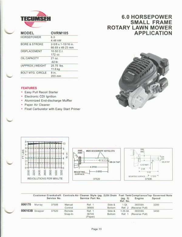 Small Engine Suppliers Engine Specifications And Line Drawings For Tecumseh Small Engines