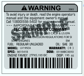 Sample Tecumseh Engine Label