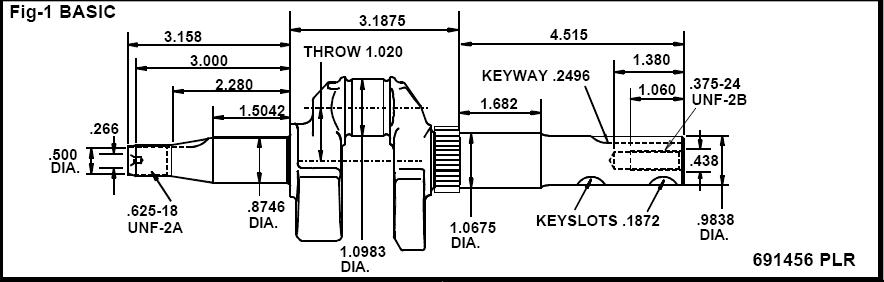 briggs stratton crankshaft part no  691457