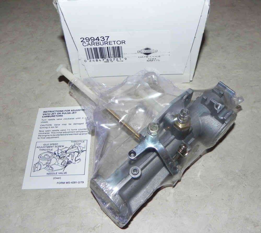 Briggs Stratton Carburetor Part No 299437 And Diagram Along With