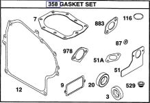 Briggs Stratton Gasket Set Part No. 492653