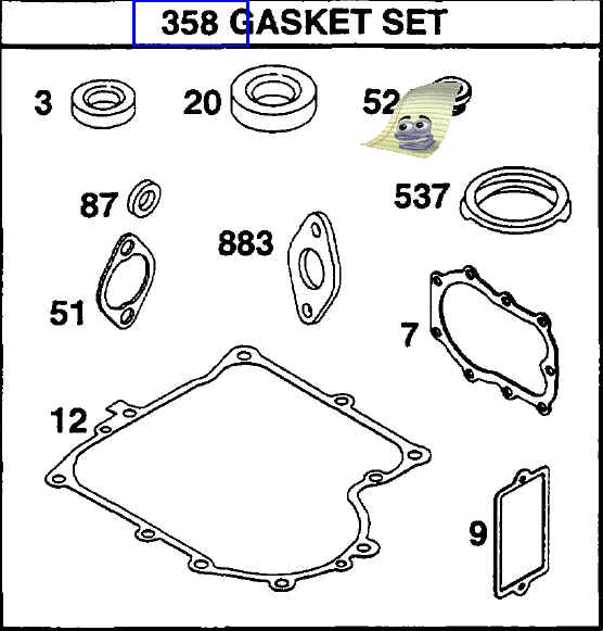 Briggs Stratton Gasket Set Part No. 494241