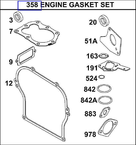 Briggs Stratton Gasket Set Part No. 495603