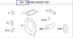Briggs Stratton Gasket Set Part No. 697010