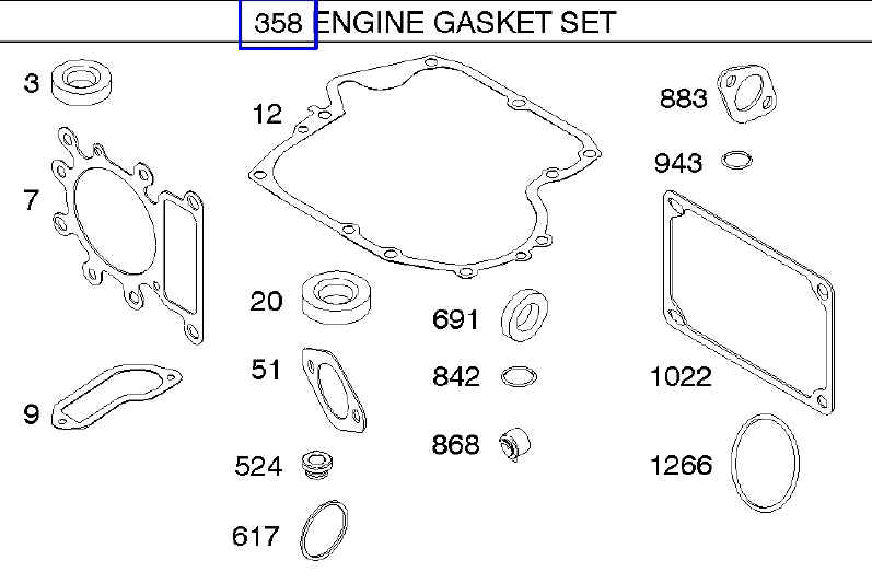 Briggs Stratton Gasket Set Part No. 796187 FKA 792621 & 697191