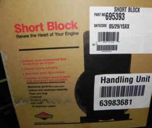 Briggs & Stratton Short Block - Part No. 695393