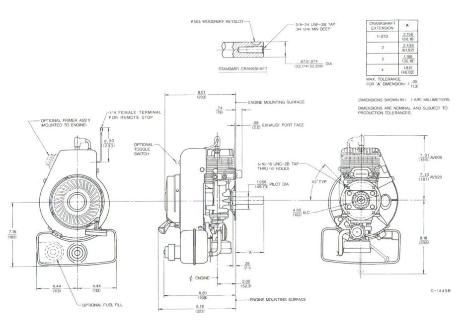 Line drawing for Tecumseh AV520
