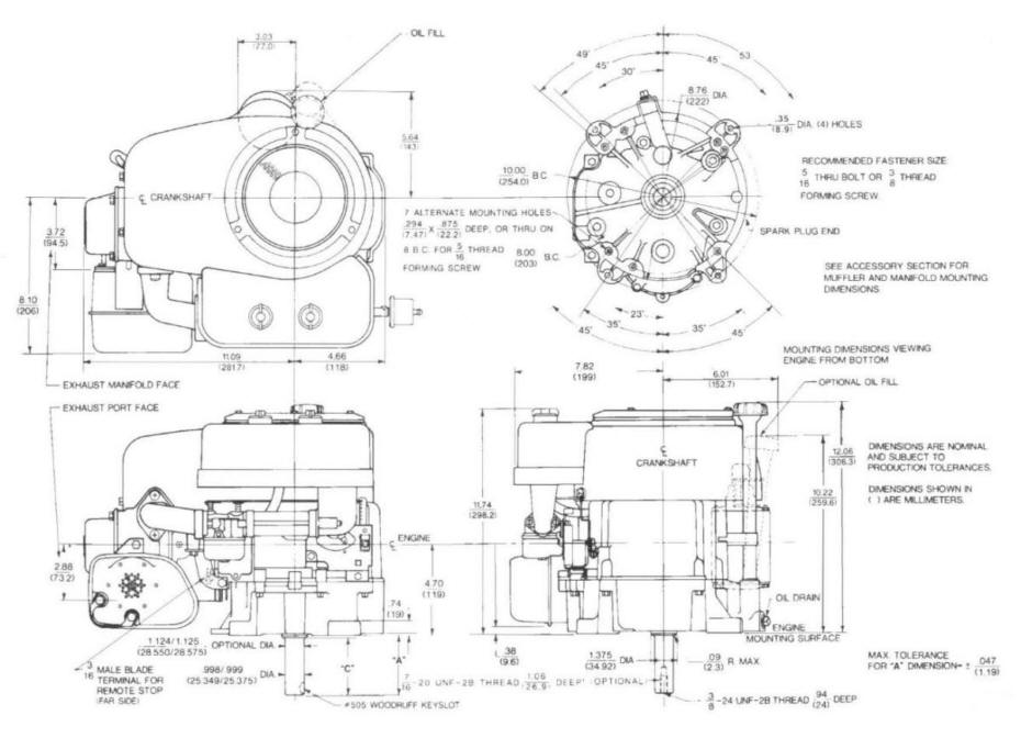 Line drawing for Tecumseh OHV125