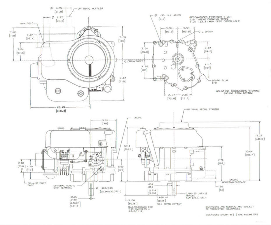 Line drawing for Tecumseh OHV135-175