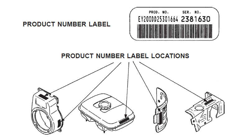 Where to look for Robin Subaru Engine Label and Product ID Number