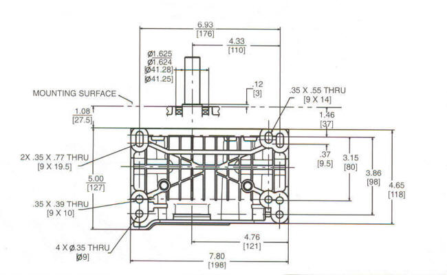 118400 Series Line Drawing mounting