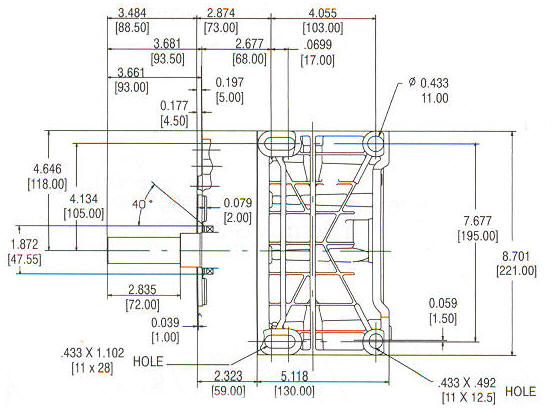 245400 Series Line Drawing mounting