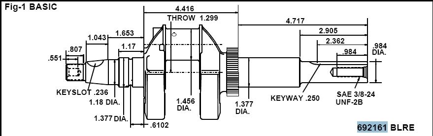 Briggs Stratton Crankshaft Part No. 692161