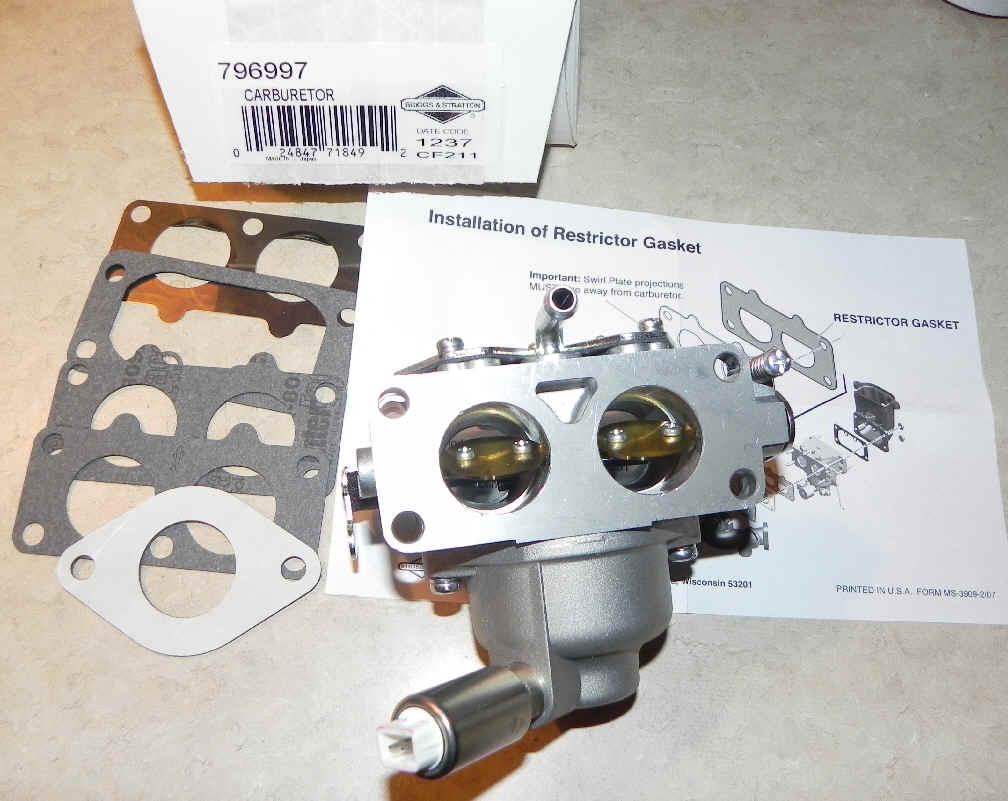 Briggs Stratton Carburetor Part No. 796997