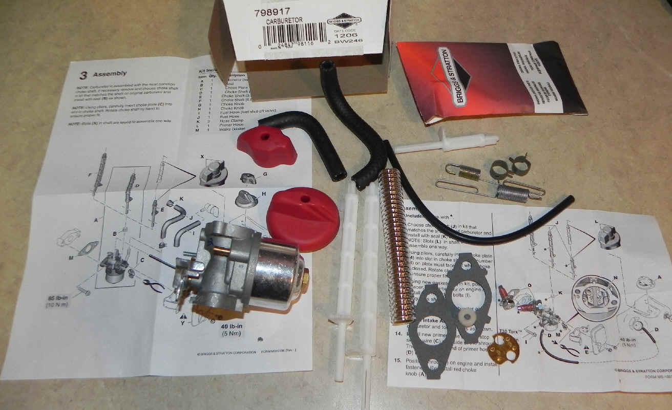 Briggs Stratton Carburetor Part No. 798917