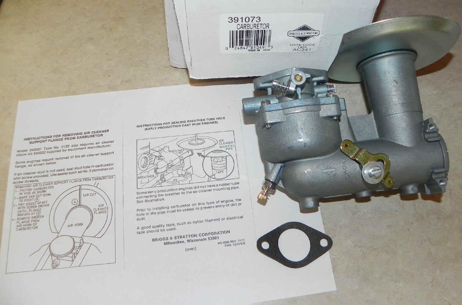 Briggs Stratton Carburetor Part No. 391073