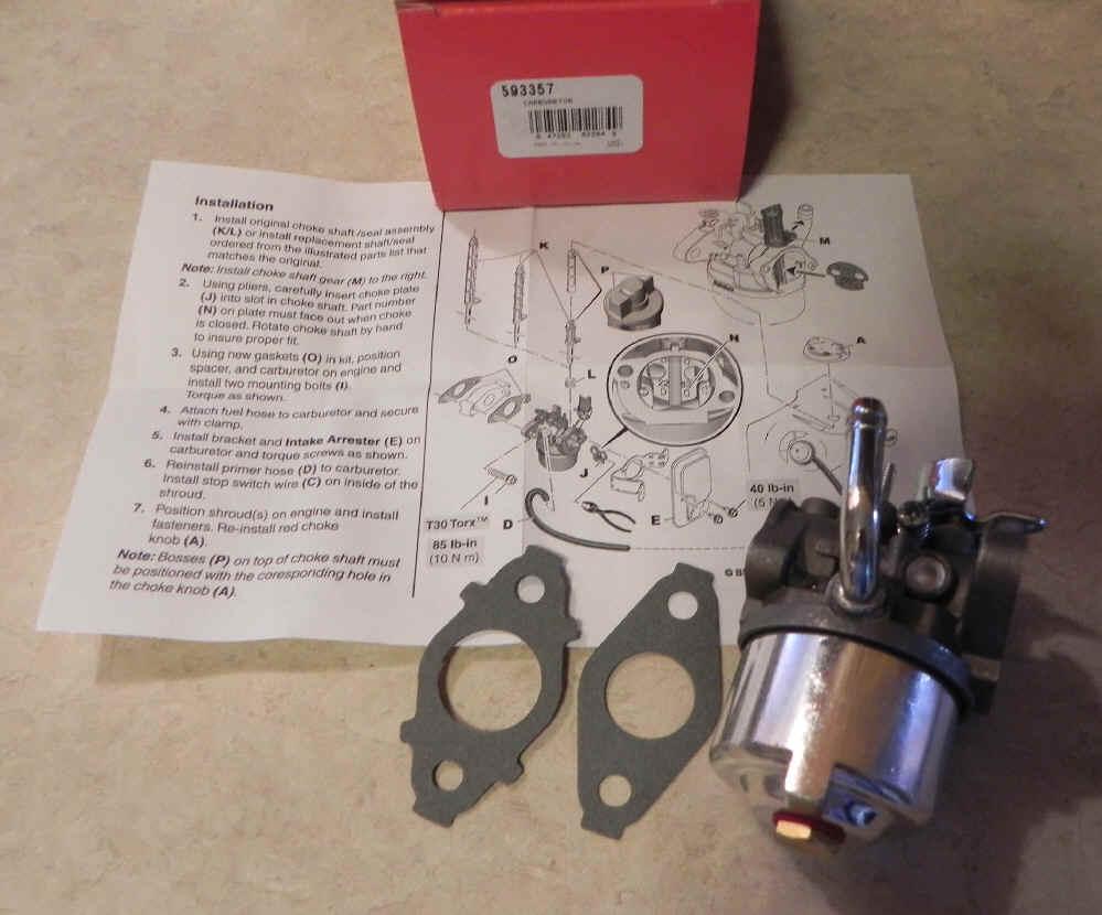 Briggs Stratton Carburetor Part No. 593357