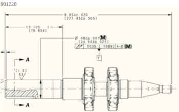 Crankshaft 801220 Dimensions