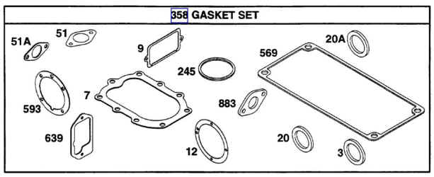 Briggs Stratton Gasket Set Part No. 291728