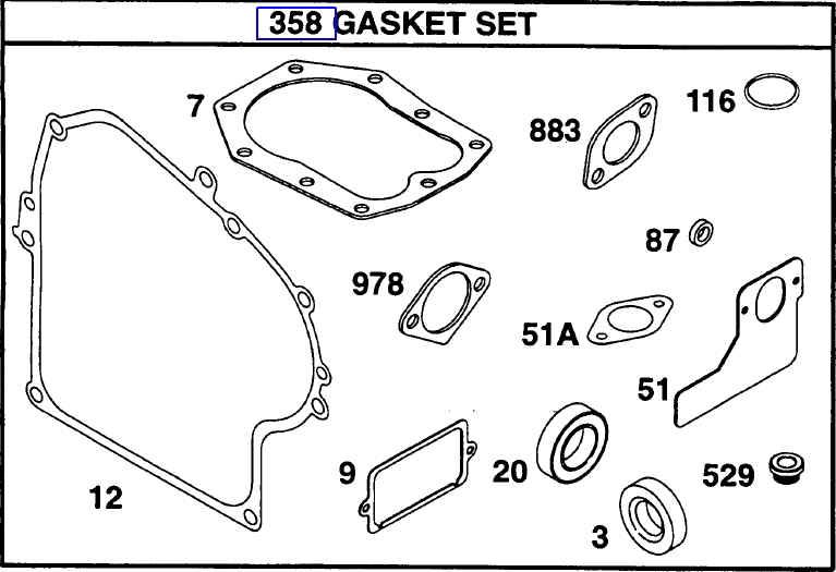 Briggs Stratton Gasket Set Part No. 492653