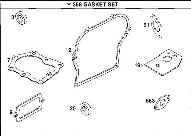 Briggs Stratton Gasket Set Part No. 495605