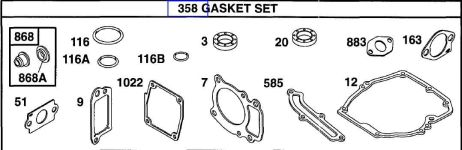 Briggs Stratton Gasket Set Part No. 496055