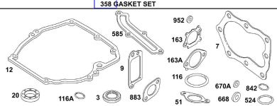 Briggs Stratton Gasket Set Part No. 496117