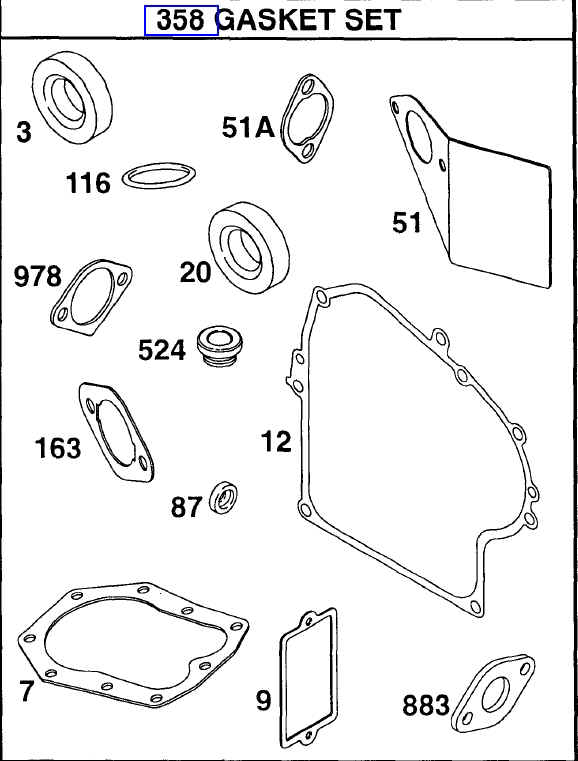 Briggs Stratton Gasket Set Part No. 497070