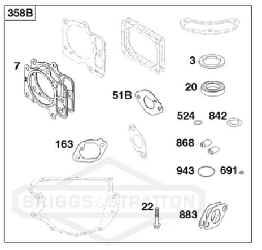 Briggs Stratton Gasket Set Part No. 84001915