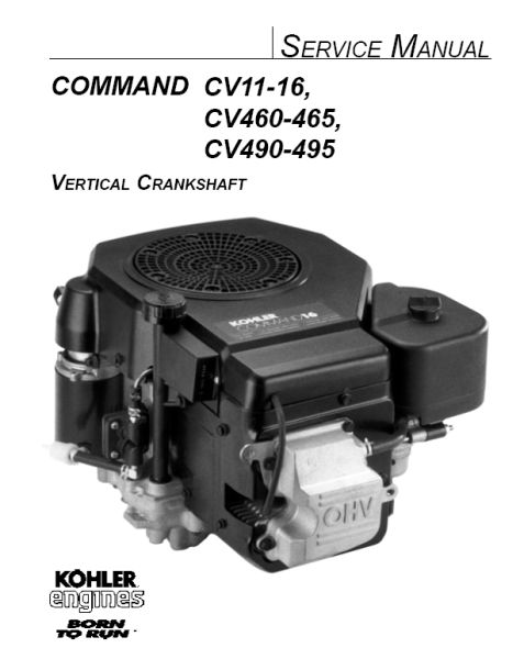 Kohler Service Manual 12 690 01 For CV11-492 Engines