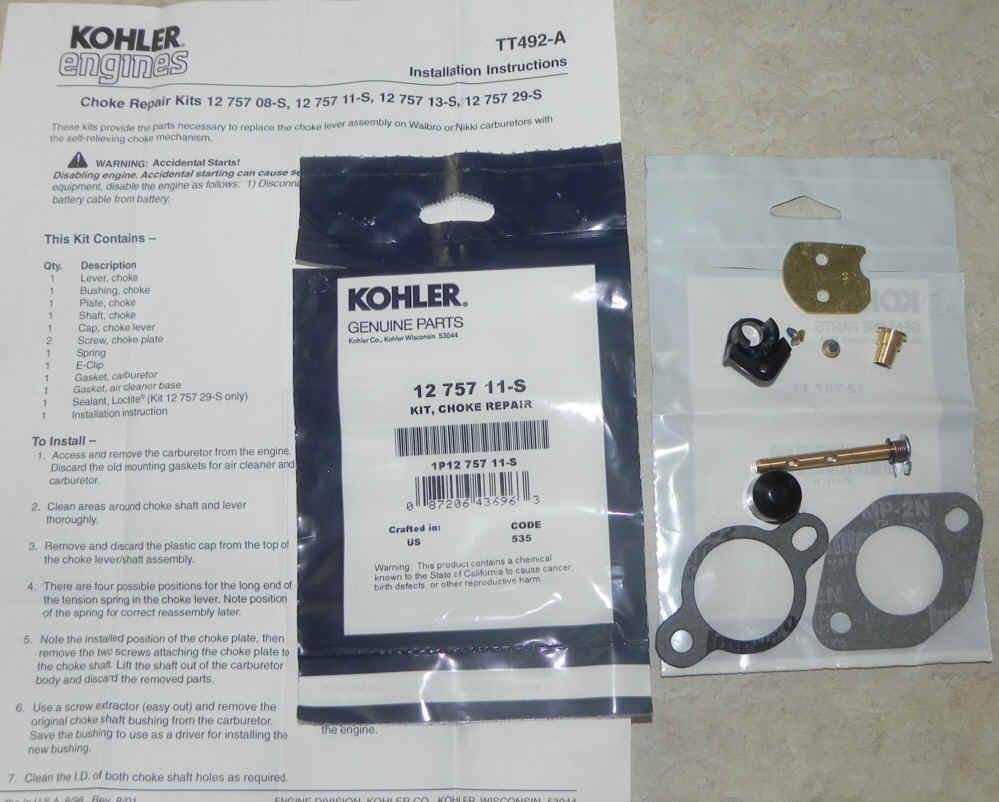 Kohler Carburetor Choke Repair Kit 12 757 11-S