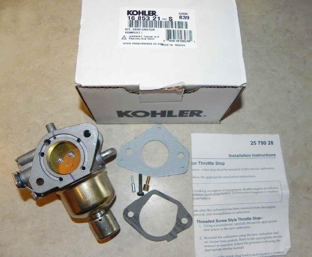 Kohler Carburetor - Part No  16 853 21-S