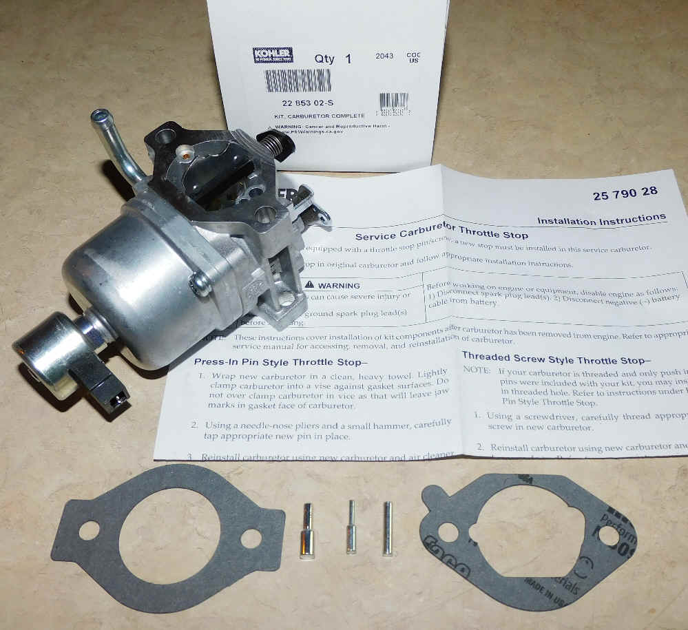 Kohler Carburetor - Part No. 22 853 02-S
