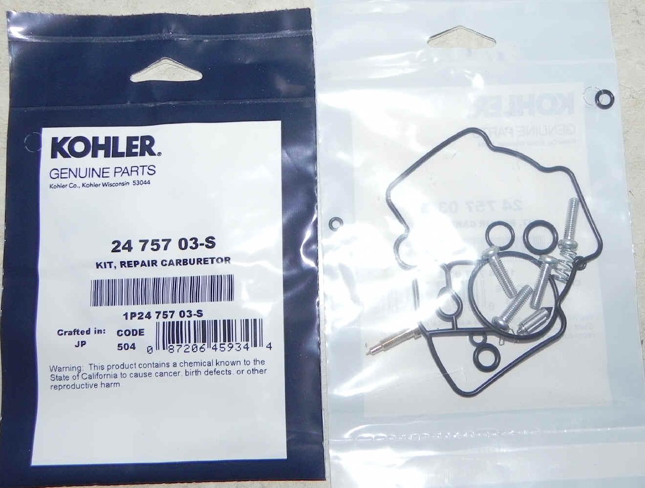 Kohler Carburetor Repair Kit 24 757 03-S