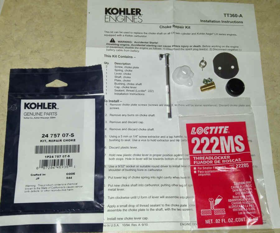 Kohler Choke Repair Kit 24 757 07-S