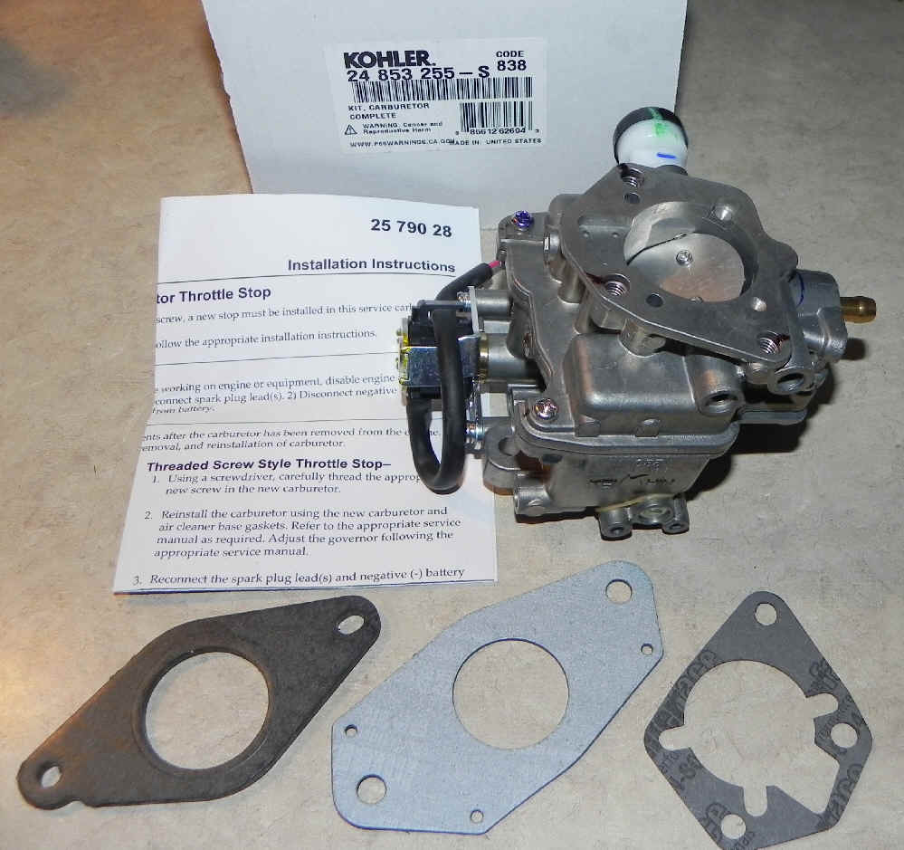 Kohler Carburetor - Part No  24 853 255-S
