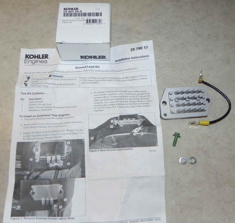 Kohler REGULATOR RECTIFIER 20-30 AMP Part No 25 403 39-S
