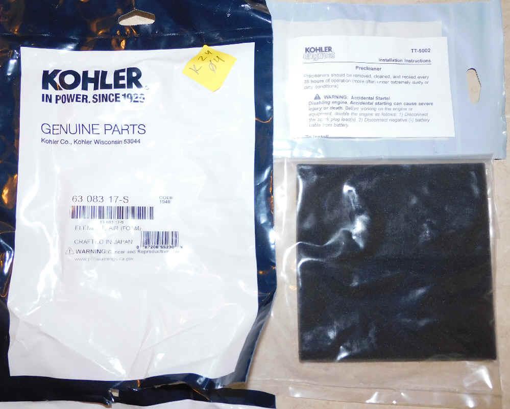 Kohler Pre-Cleaner Part No 63 083 17-S
