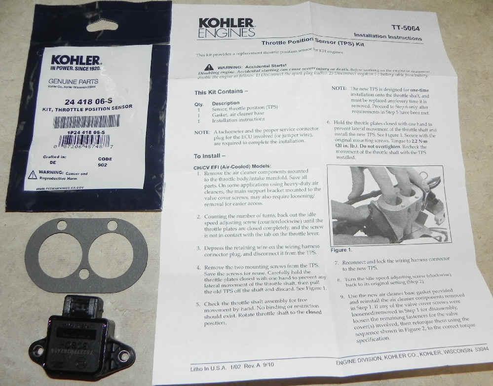 Kohler Throttle Position Sensor - Part No. 24 418 06-S