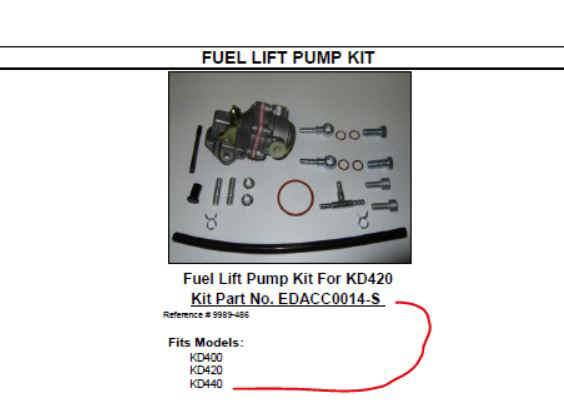 Kohler Fuel Lift Pump - Part No. EDACC0014-S