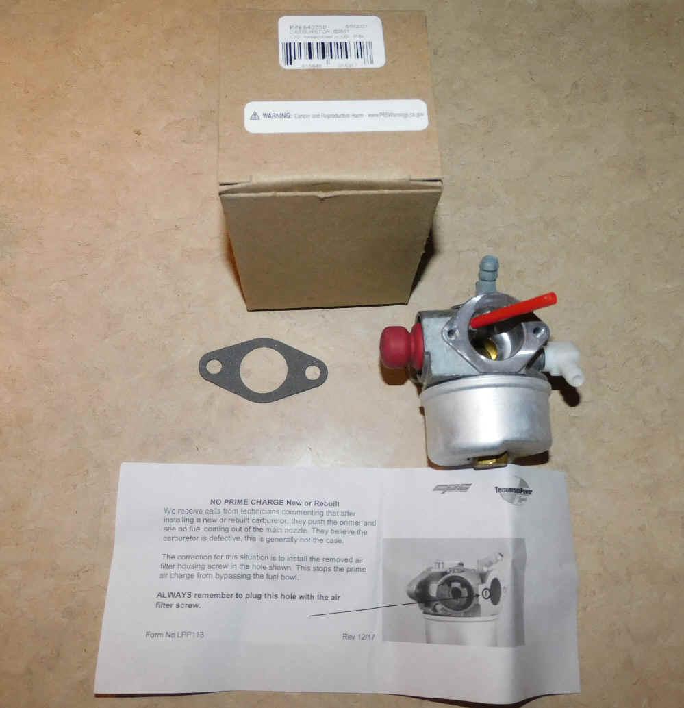 Tecumseh Carburetor Part No.  640303 NKA 640350